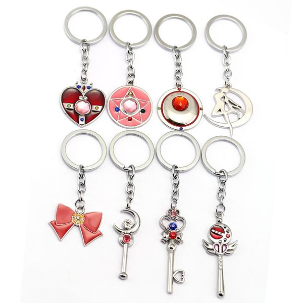 J Loja Anime Bonito Sailor Moon Figura Anime Sailormoon coração / lua / arco Keychain Pingente Cosplay KeyChains Chaveiro Dos Desenhos Animados