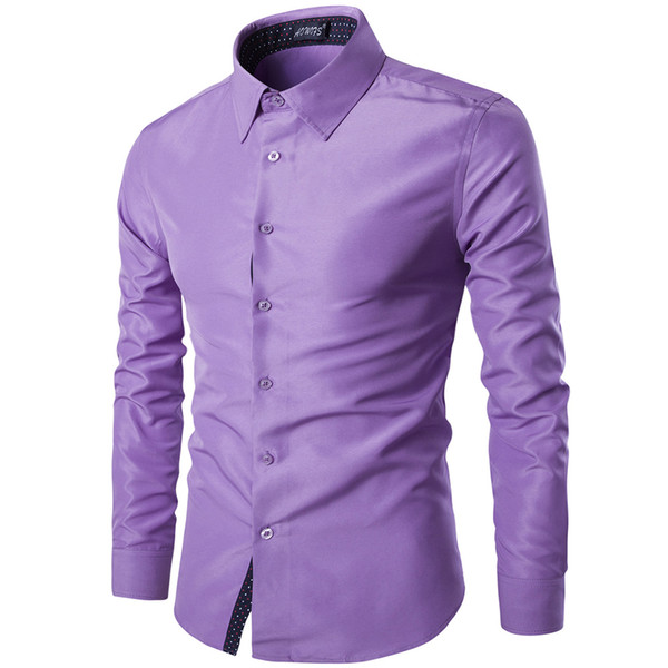 Gentleman Men's Dress Shirt 2018 Long-Sleeve Shirt Men's Casual Fashion Slim Solid British style Top Camisa Masculina Plus