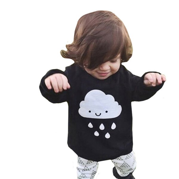 Sweater Baby 2018 Fashion Baby Boys Girls Knitted Autumn Winter Clothes Cloud Rain Black Sweaters Fashion Baby Children Clothes