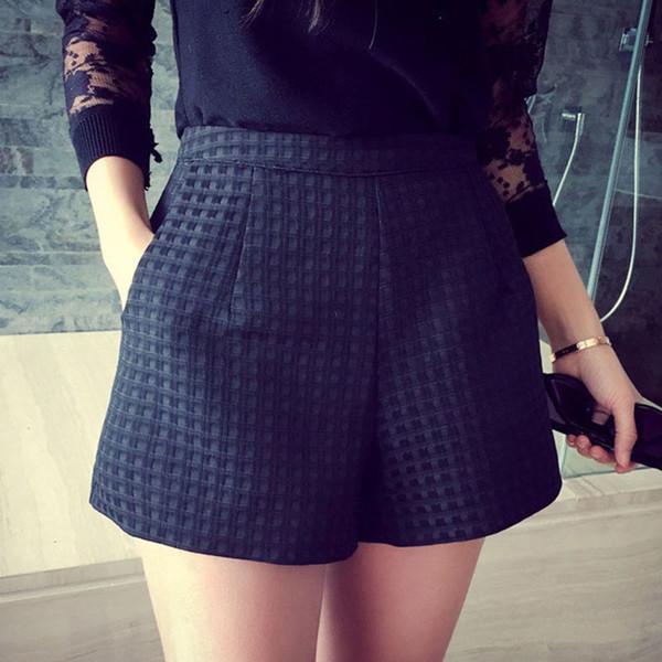 New Fashion 2016 Europe and Joker dark Plaid high-waisted Korean Casual women Jeans crochet shorts