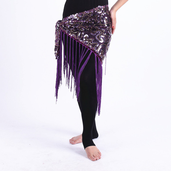 Cheap Belly Dance Clothes Women Dancewear Long Fringe Hand Crochet Triangle Belt Belly Dance Hip Scarf Sequins