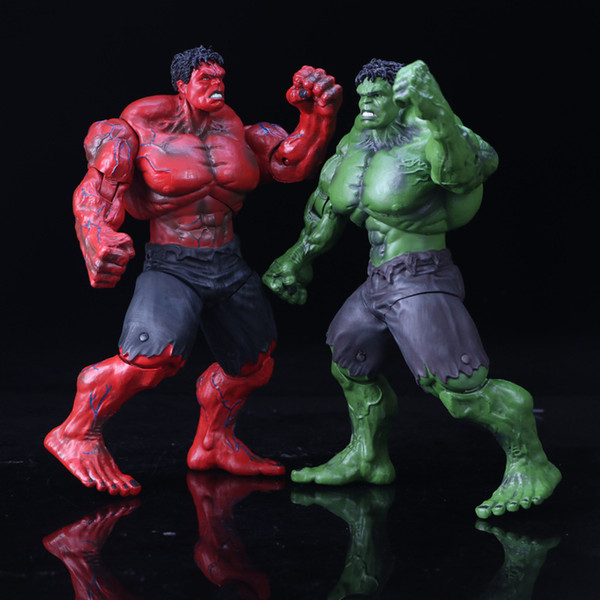 26cm Red and Green Hulk Action Figure The Avengers PVC Figure Toy Hands Adjusted Movie Lovers Collection