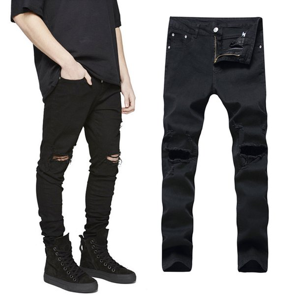 QMGOOD Black Ripped Jeans Men Slim with Holes Denim Skinny Famous Designer Brand Slim Plus Size 42 Fashion Scratched Biker Jeans