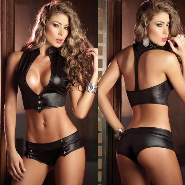 top popular Women Leather Sexy Lingerie Dancing Costume Underwear Nightwear Temptation Faux Leather Bra Underwear Erotic Lingerie Set H0 2019