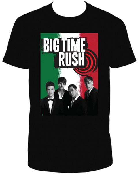 Big Time Rush Italiano Negro Cuello Redondo Camiseta de manga corta Camiseta para hombre Verano O Cuello Camiseta de algodón Hombres 2018 Nuevo
