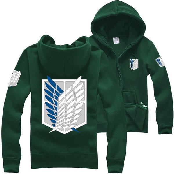 Wholesale-10 Colors men shingeki no kyojin attack on titan hoodie cosplay hooded jacket coat men harajuku hoodies sweatshirt anime costume