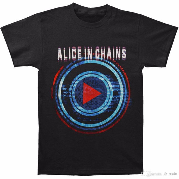 Tops Alice In Chains Men's Play Button Tour Slim Fit T-shirt Size S To 3XL Short Men Crew Neck Zomer T Shirts