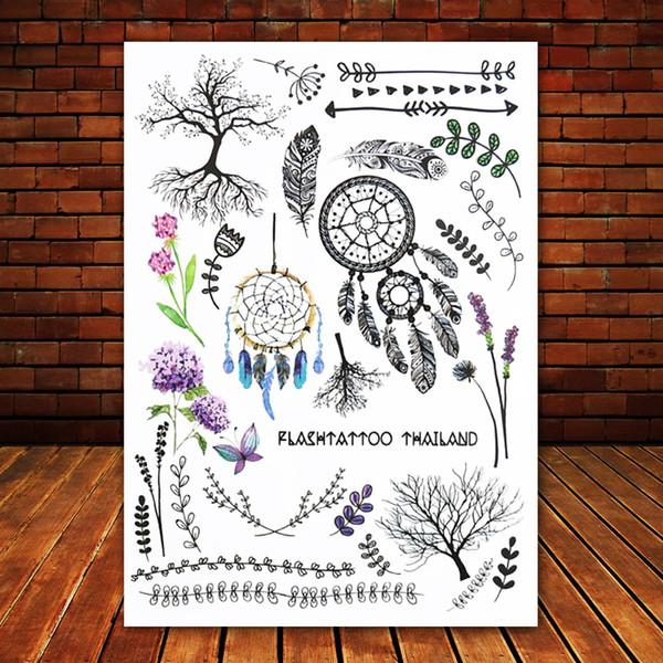 Big Black tatuagem Taty Body Art Temporary Tattoo Stickers Indian Tribe Floral Feathers Tree Glitter Tatoo Sticker