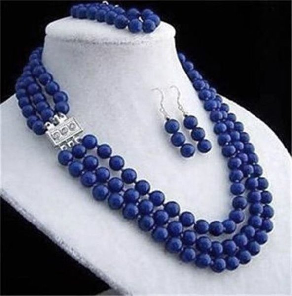 3rows 8mm blue lapis lazuli Gemstones round beads necklace bracelet earrings set