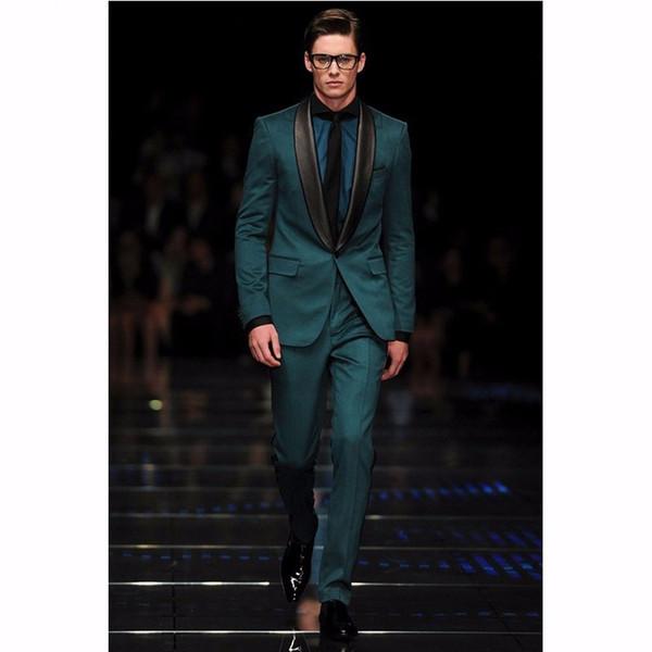Custom Made Groomsmen Şal Siyah Yaka Damat Smokin Koyu Yeşil Erkekler Düğün İyi Adam Suits (Ceket + Pantolon)