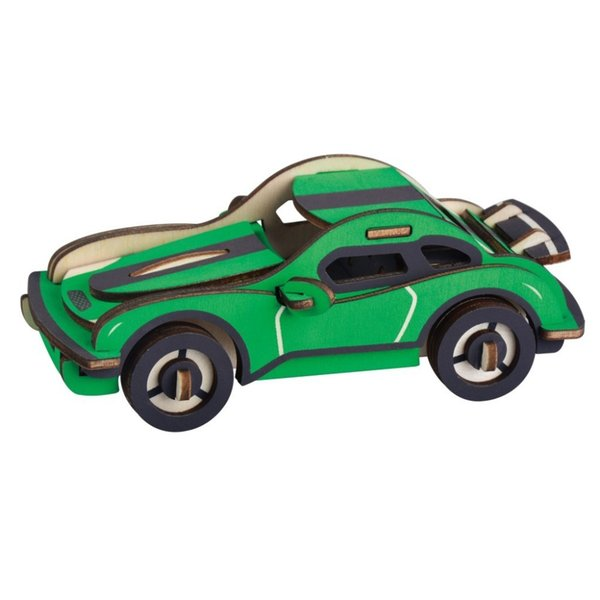 Lulong 3D Wooden Puzzle 3D Wood jigsaw Puzzle Woodcraft Kit di montaggio - Hurricane racing car con 43 pezzi di ricambio