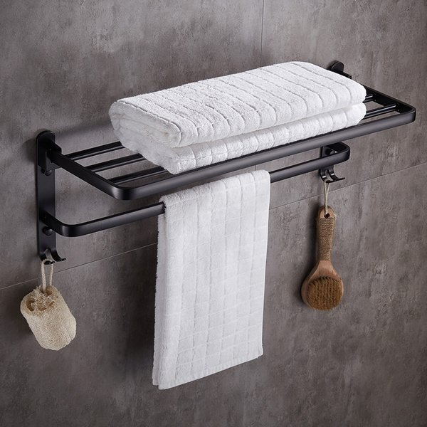 2019 Space Aluminum Bath Towel Rack Bathroom Towel Holder Wall Mounted Towel Rack Clothes Organizer Storage Shelf With Hooks Vb From Warmhome7 5227