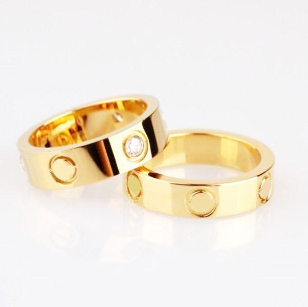 Vendita calda titanio acciaio inossidabile anelli di amore per le donne gioielli uomo coppie cubic zirconia anelli di nozze bague femme 4mm / 6mm