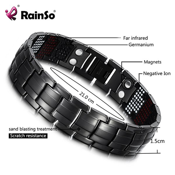 RainSo Homme Bracelet Santé Germanium Bracelet Charme Titane Noir Magnétique Thérapie Magnétique Bracelets Bracelet Unique Hommes Bijoux 1316