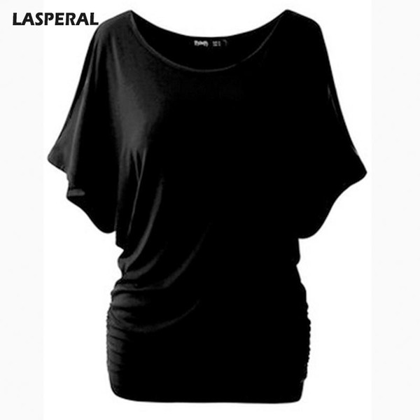 Wholesale- LASPERAL Brand T Shirt Women Batwing Sleeve Shirts Top Solid O-Neck Cotton Blend Summer Tee Tops Female Plus Size Casual Shirts