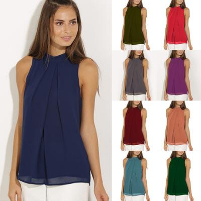 top popular Women Chiffon Blouse Shirts Double Lining European Summer Crew Neck Sleeveless Pleated Hollow Out Beads Casual Plus Size S- 3XL Fashion Tops 2021
