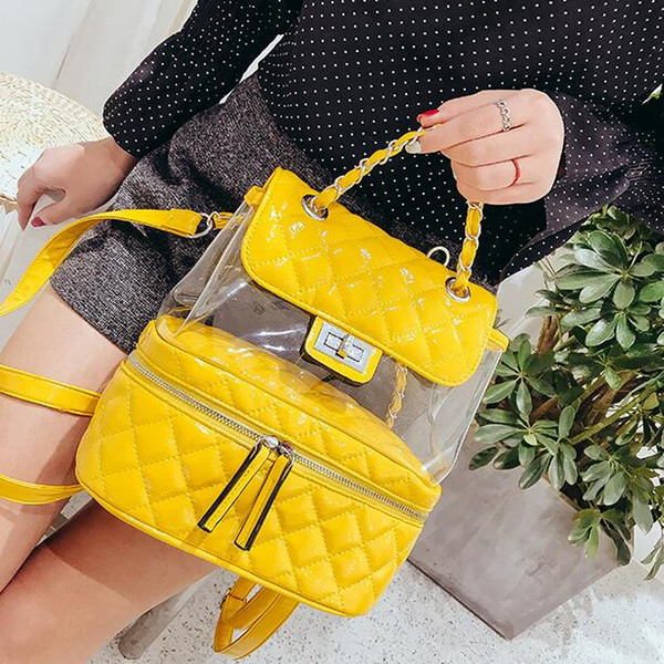 School Backpacks Style Preppy Backpack 2018 Fashion New Cute Transparent Backpacks For Teen High Quality PU Leather Shoulder Bag