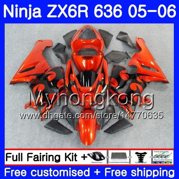 Body+Tank For KAWASAKI Orange black new NINJA ZX-636 ZX-6R ZX636 ZX6R 05 06 210HM.28 ZX600 ZX 636 600CC 6 R 05 06 ZX 6R 2005 2006 Fairings