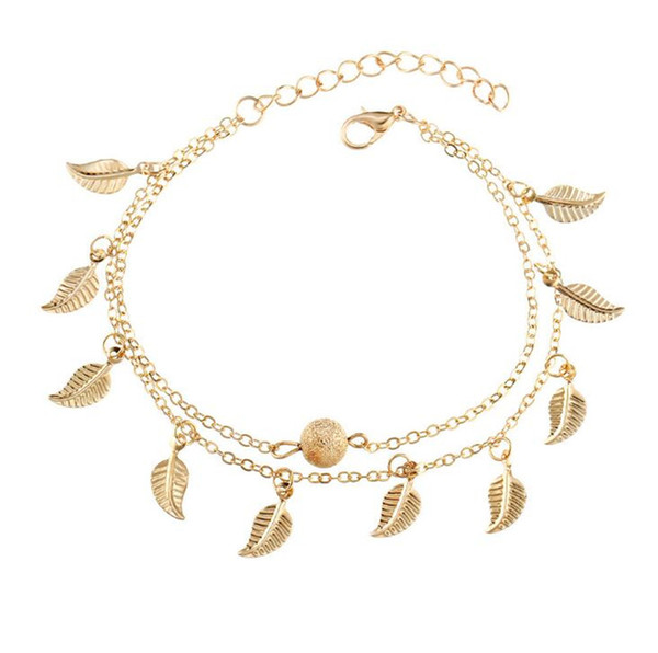 best selling Women Gold Leaf Charm Anklets Real Photos Gold Chain Ankle Bracelet Fashion 18k Gold Ankle Bracelets Foot Jewelry