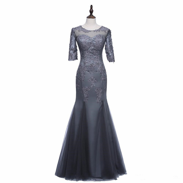 Real Image Mermaid Gray Mother of the Bride Dress Half Sleeve Beaded Lace Appliques Formal Evening Gowns Wedding Guest Dress
