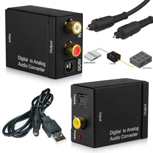 Convertisseur optique US / EU de convertisseur stéréo Toslink numérique coaxial vers audio analogique RCA L / R