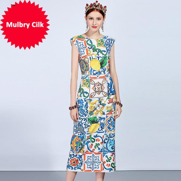 New 2018 Fashion Runway Summer Dress Women's Sleeveless Tank Vintage Casual Floral Print Slim Midi Elegant Dress