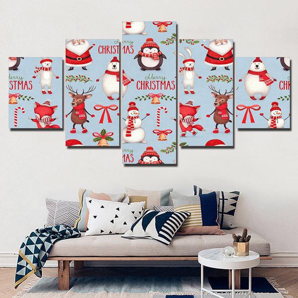Acheter Enthousiaste Joyeux Noël Dessin Animé Animaux Hd Imprimé Toile Peintures Peinture Mur Photos Pour Salon Mur Art No Frame De 36 98 Du