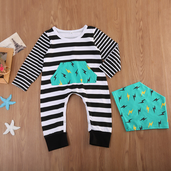 2018 Baby Boy Striped Romper Long Sleeve Jumpsuit Bib 2pcs set Geometric Flash Baby Clothes Outfits Kids Boys Girls Rompers Bodysuit 0-24M