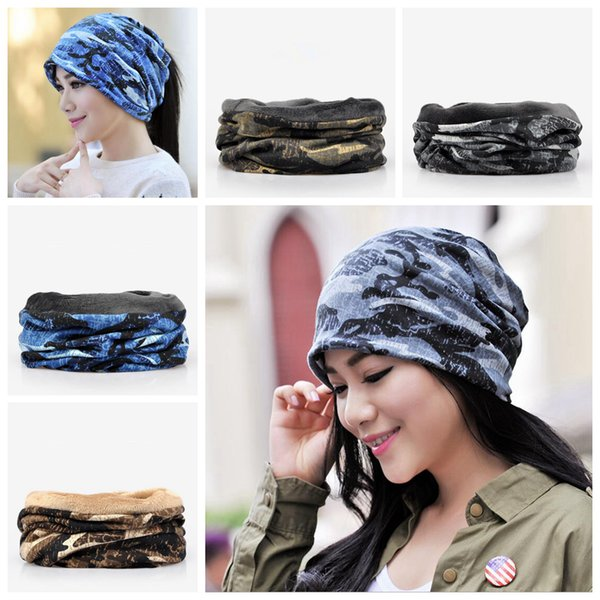 Camouflage Beanies 2 in 1 Camo Knitted Hat Scarf Male Cap 4 Colors Summer Winter Outdoor Windproof Warm Sleeve Girls Cap OOA5679