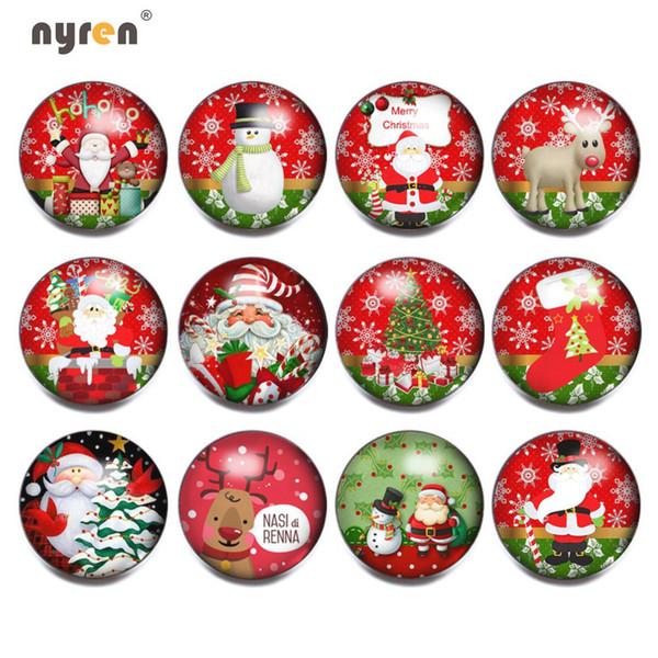 12pcs / lot colori misti Natale Cat / Santa Claus 18mm con bottone a pressione Gioielli sfaccettato vetro Snap Fit gioielli braccialetto KZ0142