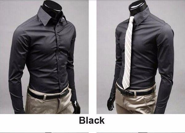office Men solid black color long-sleeved shirt wild evening dress shirt cotton high-quality long-sleeved shirt 17 color M-XXXL
