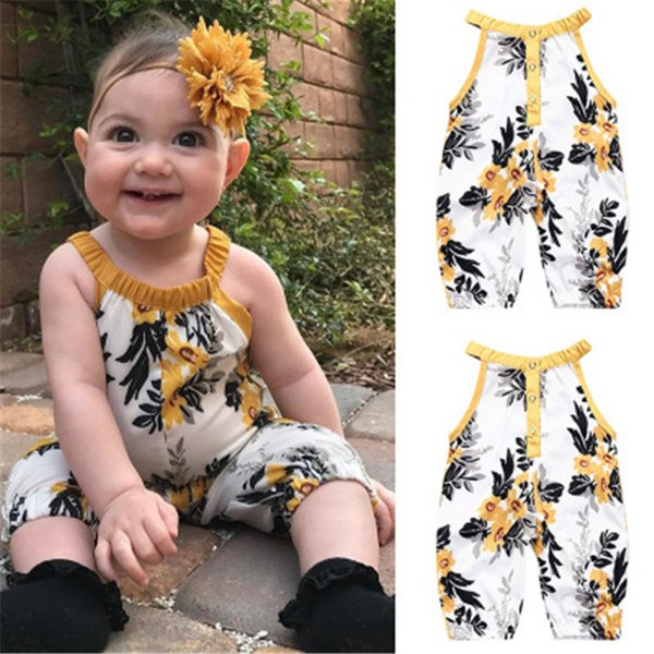 Newborn Infant Baby Girl clothing INS 2018 Floral Romper Sleeveless Chiffion Jumpsuit toddler Outfit Playsuit Outfits Clothes for girl 0-4T