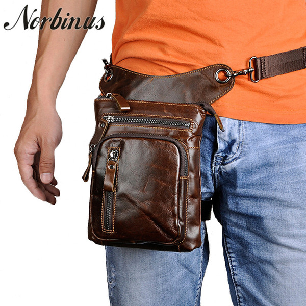 Real Crazy Horse/Oil Wax Genuine Leather Thigh Drop Leg Bag Men Motorcycle Rider Messenger Hip Belt Fanny Pack Male Waist Bags