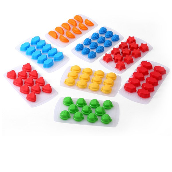 21*11*2cm 7 Styles Food Grade Silicone Ice Cube Mold Design Star Heart Banana Shaped Popsicle DIY Ice Cream Tray