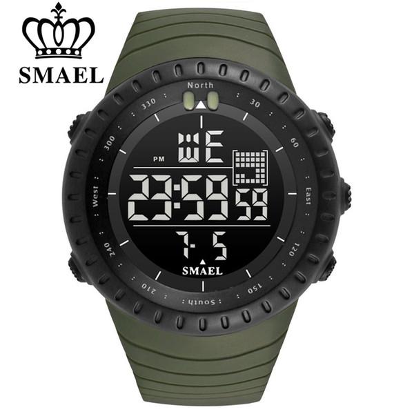 SMAEL Hombres Deportes al aire libre Cronógrafo electrónico 2018 Reloj para hombre nuevo Gran Dial Digital 50M impermeable Relojes LED digitales