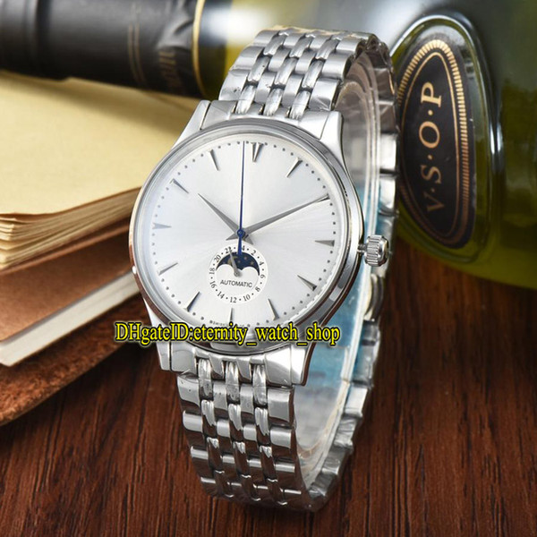 7 Color Luxry New 42mm MASTER ULTRA THIN 1368420 Moon Phase White Dial Automatic Mens Watch Silver Case 316L Steel Strap Gents Watches
