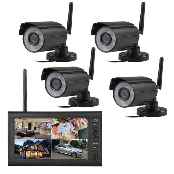 NUOVO 2.4GHz Wireless 4 Canali Quad CCTV Sistema di sicurezza domestica 4 Fotocamere digitali 7