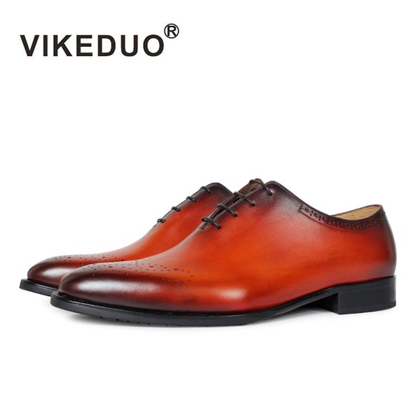 Vikeduo Handmade vintage retro Designer brand fashion Wedding party dance Office male dress Genuine Leather Men Oxford Shoes