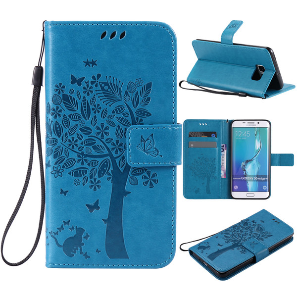 For coque Samsung Galaxy S6 S6 Edge case For Fundas Samsung S6 Edge Plus 3D Tree Cat Magnet Flip Cover Leather Case stand