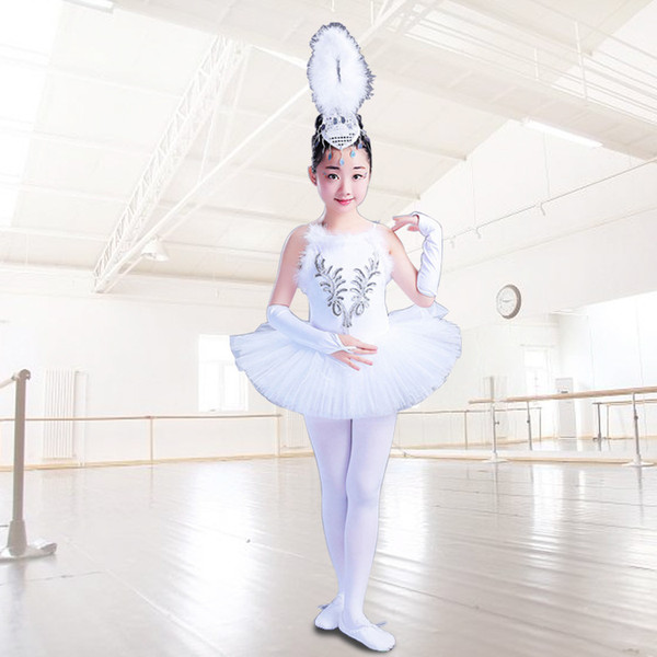 Kızlar Küçük Kuğu Dans Etek Tutu Kostüm Çocuk Beyaz Balerin Elbise Çocuklar Jartiyer Peçe Prenses Noel Dans Kostüm