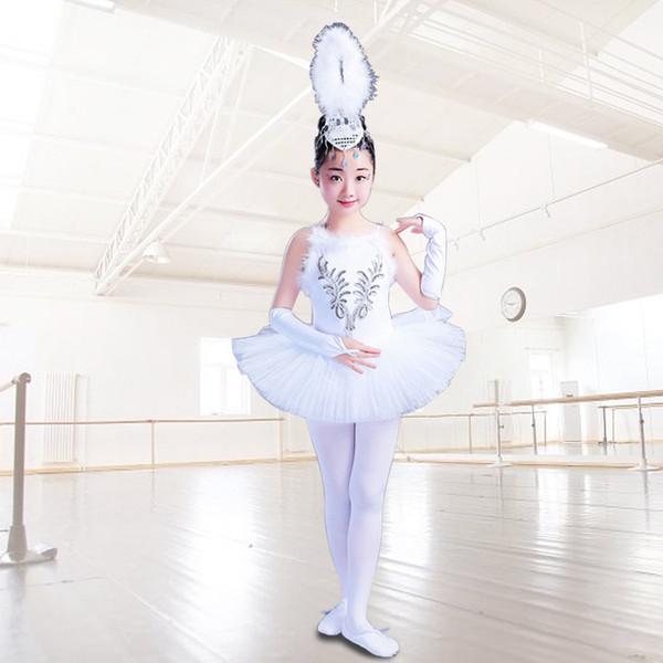 Niñas Little Swan Dance Falda Tutu Disfraz Niños Bailarina blanca Dress Kids Suspenders Velo Princesa Christmas Dance Costume