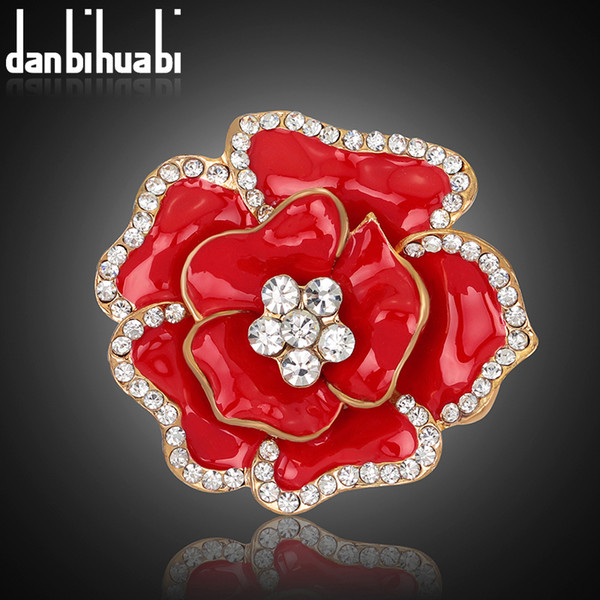 2017 New Poppy Brooches Multicolor Pins Brooches Crystal Rhinestone Red Flowers Drip Brooch For Women Wedding Dress accessories