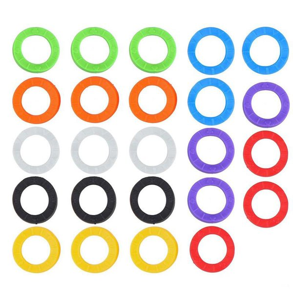 Creative Key Identifier Rings Caps Tags Plastic 8 Different Colors Key Tags ID Fobs 1 Pack=32Pcs 500Packs=16000Pcs