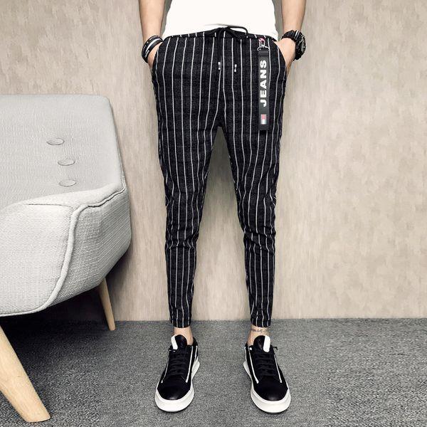 Summer Joggers Fashion 2018 Slim Fit Casual Rayas Hombres Pantalones Hasta el tobillo Negro Harem Pant Hombres Ropa Hip Hop Pantalones Hombre 33