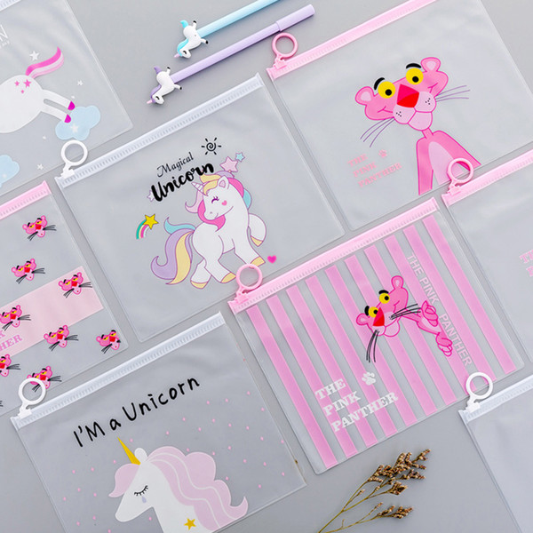 clear pencil bag unicorn toy Big capacity PVC leopard pen bag Stationery pouch gift school supplies