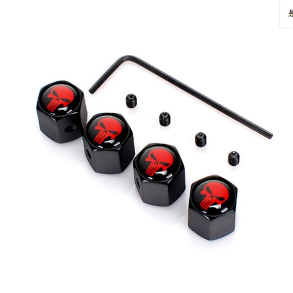 50sets/Lot Car-Styling Ghost Skull Logo Mark Emblem Tire Valve Caps Car Tyre Stems Air Cap Auto Motorcycle Wheel Accessories