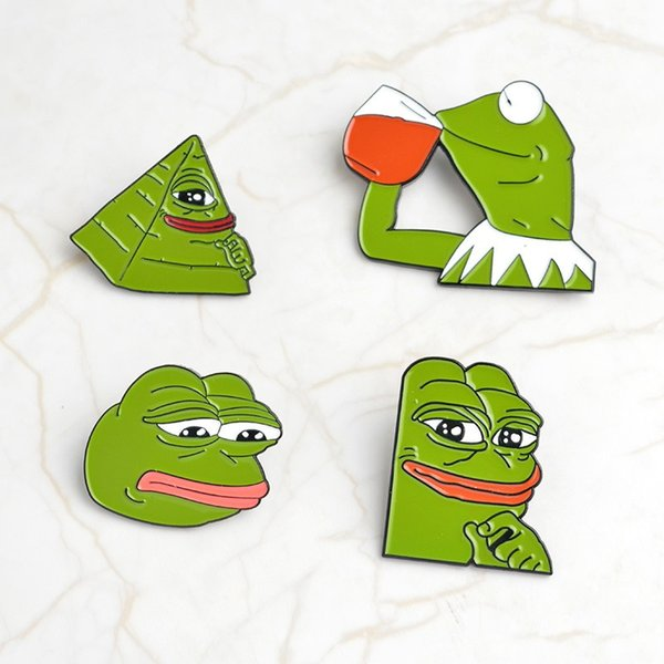 QIHE JEWELRY Rana Pepe Pin Siente Bad Man Broche Rana Triste Solapa pin Se siente bien Hombre Insignias Cultura Pop Pins Frog Jewelry