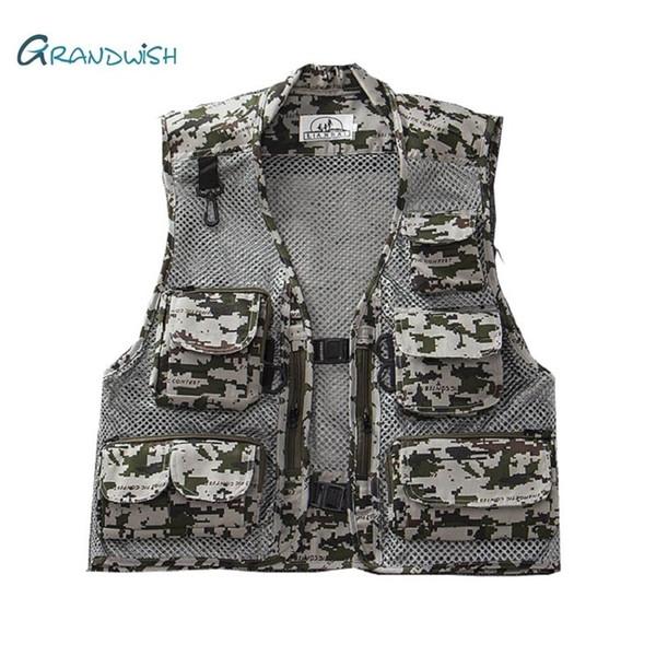 Grandwish Mens Große Größe M-3XL Casual Weste Männlichen Multi-Pocket Mode Westen Männer Sleeveless Hohe Qualität Westen Jacken, DA749