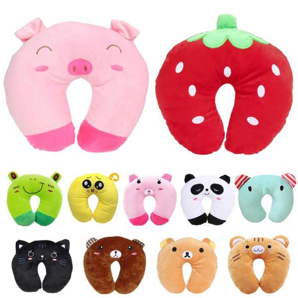 Decorative Pillows U Shaped Travel Pillow Neck Pillow Car Headrest Cartoon Animal Pig Bear Strawberry Decor