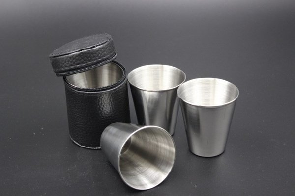 4pcs/set mini 30ml Portable Stainless Steel Wine Cups Drinking Liquor Alcohol Whisky Vodka Bottle Mug Travel Barware Accessories fast